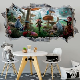 Vinyl wall stickers alice through the mirror 3d