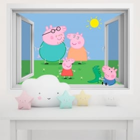Vinyl children's walls peppa pig 3d