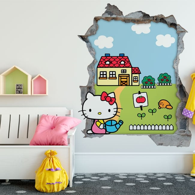Vinyl hello kitty hole wall 3d