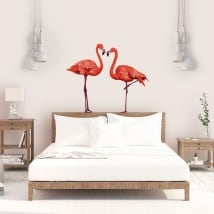 Decorative vinyl wall flamingos