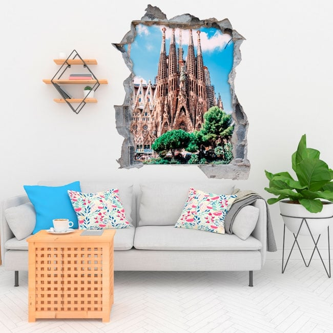 Decorative vinyl barcelona sacred family 3d