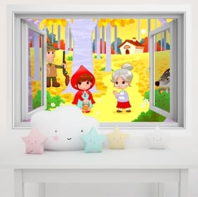 Vinyl children's walls little red riding hood 3d