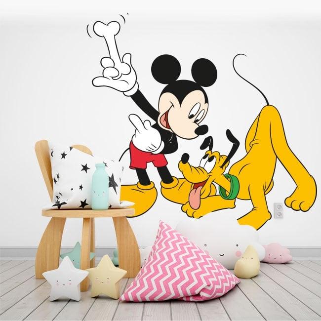 Children's vinyl mickey mouse and pluto disney