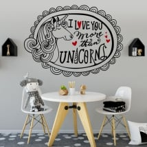 Decorative vinyl and stickers unicorn and phrase