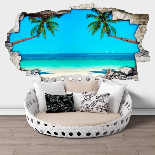 Vinyl walls palm trees on the beach 3d