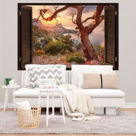 Vinyl decoration walls sunrise coast of crimea 3d