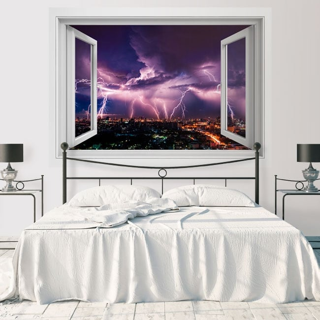 Vinyl decoration walls rays in the city 3d