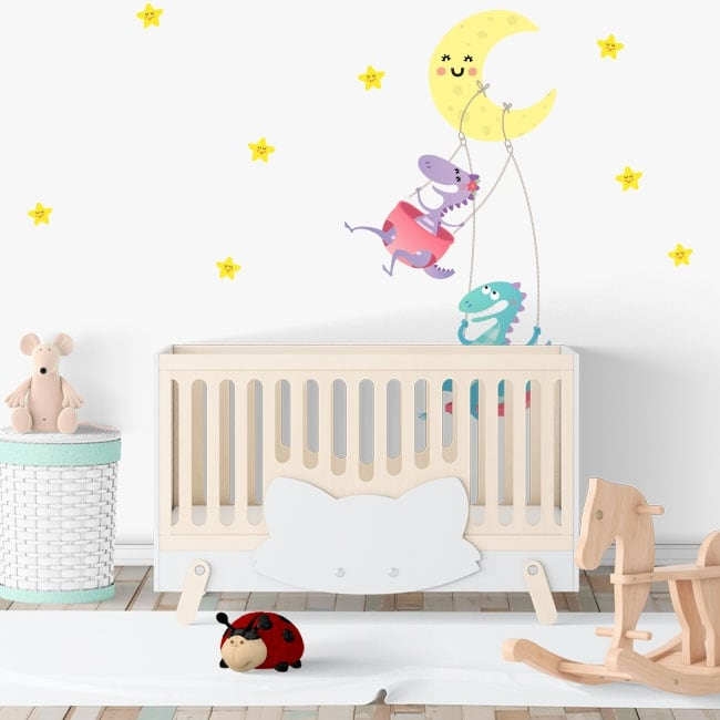 Vinyl children's rooms dinosaurs moon and stars