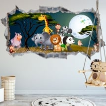 Stickers decorating children's rooms animals nature 3d
