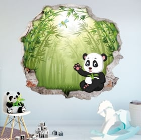 Vinyl children's walls panda bear 3d