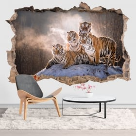 Vinyl and stickers 3d bengal tigers