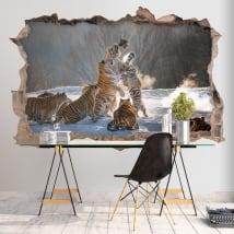 Vinyl walls 3d bengal tigers