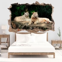 Decorative vinile white tiger 3d
