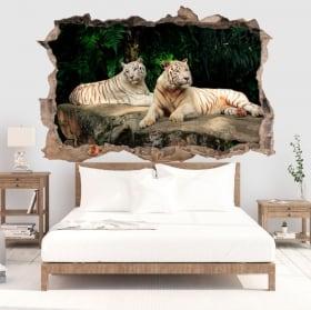 Decorative vinile white tiger 3d