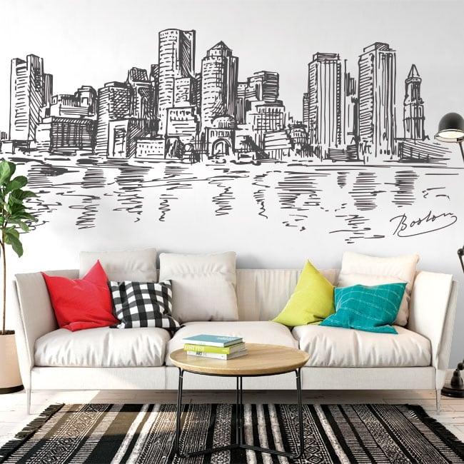 Vinyl and stickers drawing skyline boston