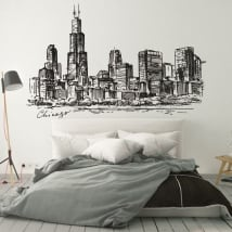 Vinyl and stickers drawing skyline chicago city