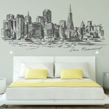 Decorative vinyl city skyline san francisco
