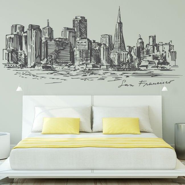 Decorative vinyl city skyline san francisco