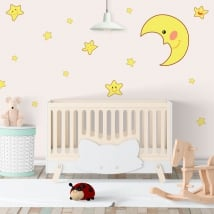 Stickers vinyl moon and children stars