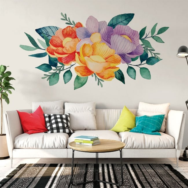 Vinyl and stickers watercolor flowers