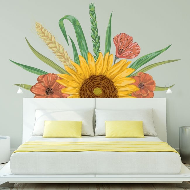 Wall decal decor sunflower and flowers