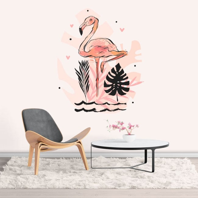 Vinyl and stickers flamingo decoration