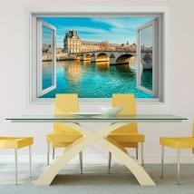 Vinyl walls carrousel bridge seine river france 3d