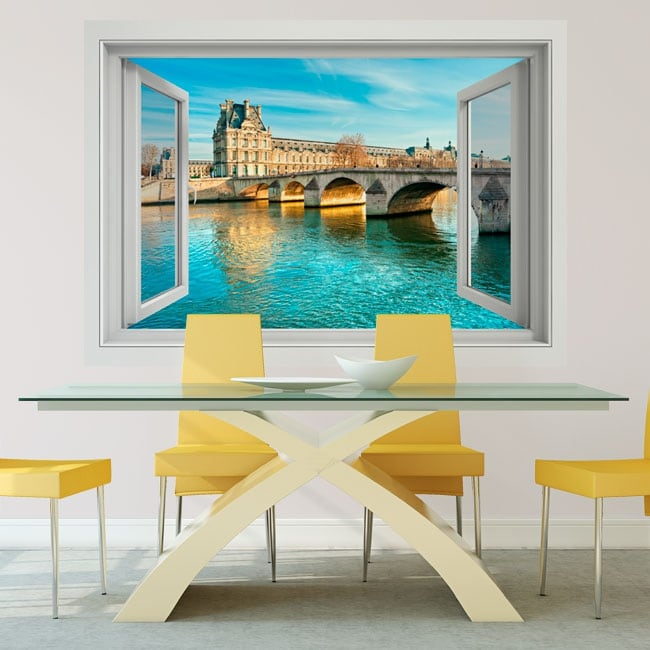 Vinyl walls carrousel bridge seine river france 3d
