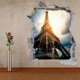 Vinyl and stickers 3d eiffel tower paris france