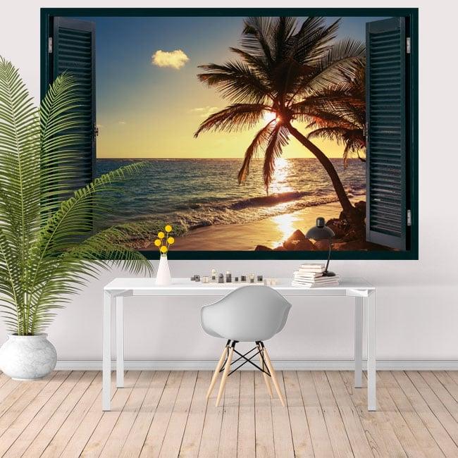 Vinyl walls window sunset at the beach 3d