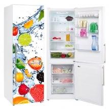 Vinyls for refrigerators fruits splashing water