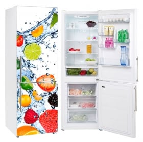 Vinyls for refrigerators fruits splashing water