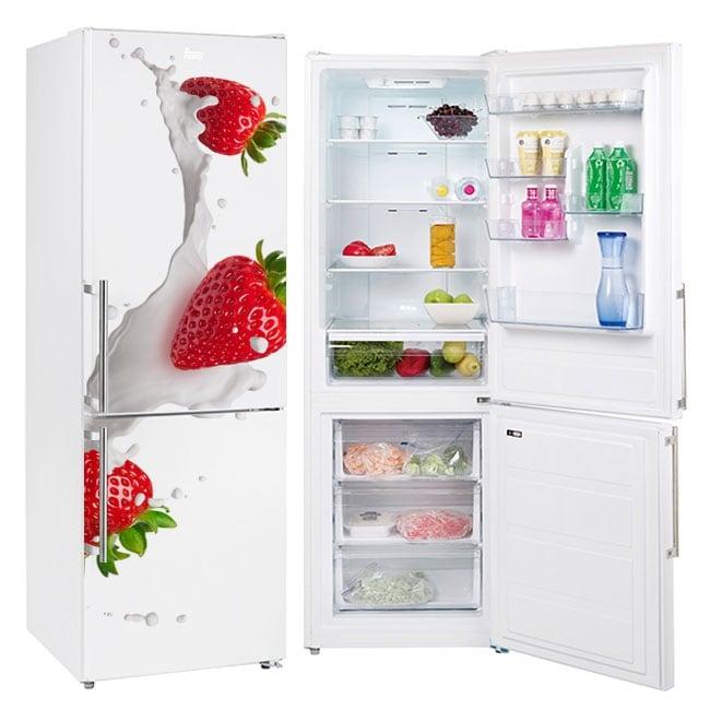 Vinyls for refrigerators strawberries with milk