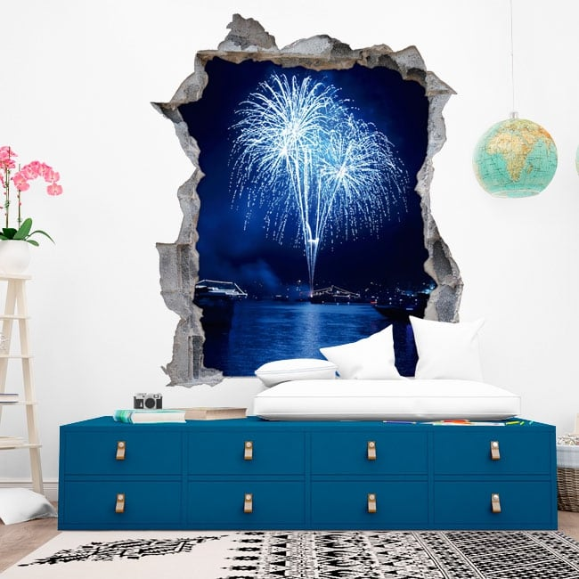 Vinyl hole wall fireworks 3d