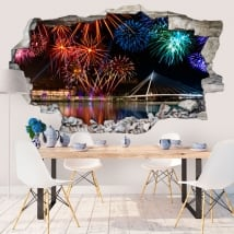 Wall stickers 3d fireworks