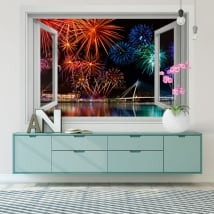 Vinyl and stickers window 3d fireworks