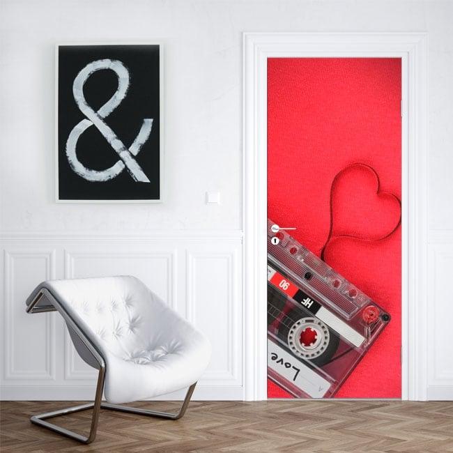 Vinyl for doors cassette heart love