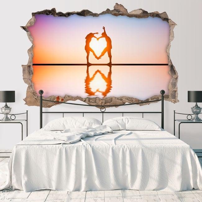 Vinyl hole wall silhouettes 3d heart