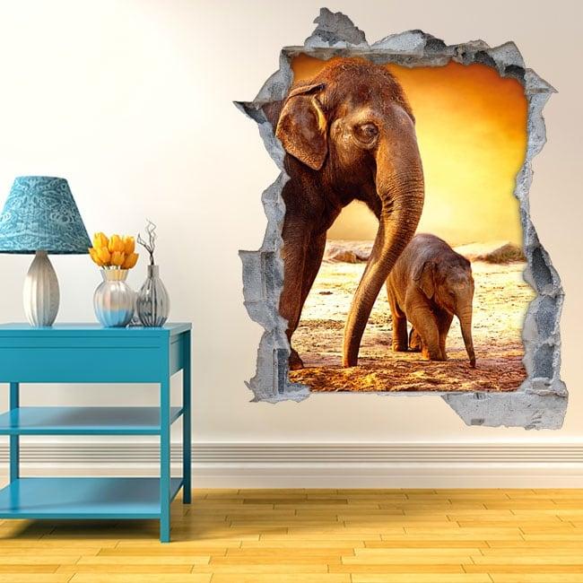 Vinyl hole wall elephants 3d sunset