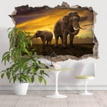 Vinyl hole wall 3d elephants