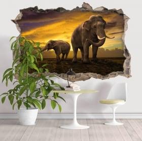 Vinyl hole wall 3d elephants