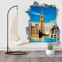 Vinyl hole wall 3d big ben london england