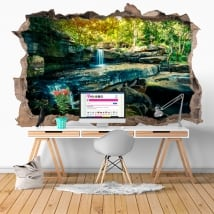 Vinyls hole wall waterfall nature 3d