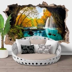 Vinyl hole wall waterfalls heo suwat thailand 3d
