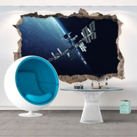 Vinyl hole wall 3d space station
