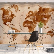 Vinyl wall murals world map splashes coffee