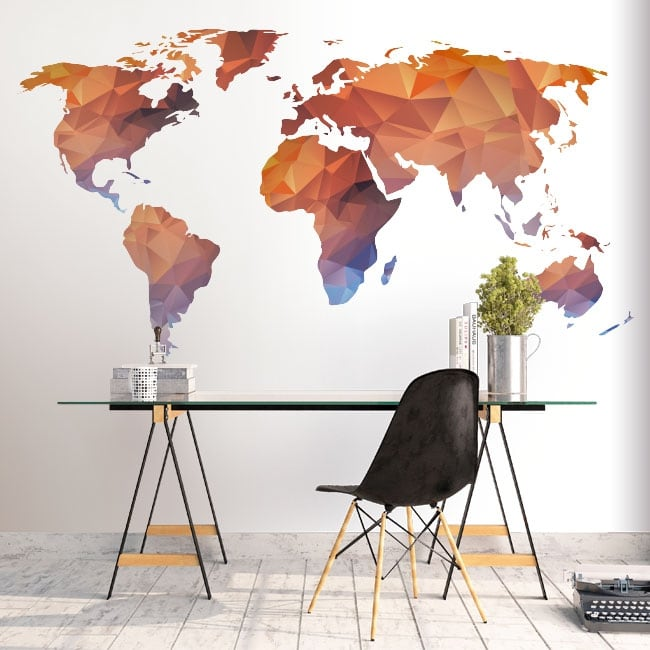 Vinyl and stickers polygonal world map