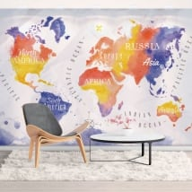 Murals vinyls watercolor world map