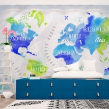 Wall murals on watercolor world map