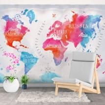 Decorative murals watercolor world map